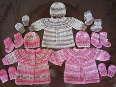 PREEMIE AND NEWBORN SEAMLESS SWEATER,   HAT, MITTENS AND BOOTIES SET KNIT PATTERN   Free pattern for charitable purposes and personal use o...