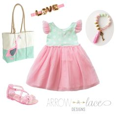 Mint Pink Girl Dress. Bows Arrow  Lace Designs, LOVE headband, cagedbirdblog etsy bracelet, Old navy shoes, JCrew Tote. Pink, Mint, Gold outfit.