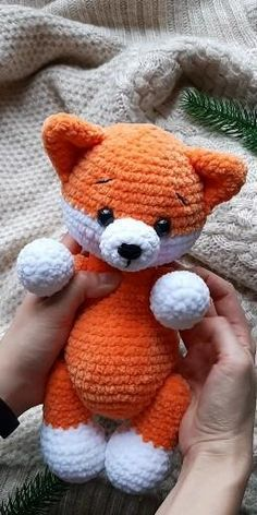 Animal Knitting Patterns, Stuffed Animal Patterns, Crochet Patterns Amigurumi, Crochet Dolls, Crochet Stuffed Animals, Crochet Fox Pattern Free, Knitted Animals, Easy Crochet Animals, Amigurumi Toys