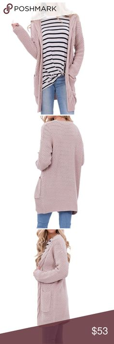 Blush Pink Knit Oversized Cardigan Long, warm chunk knit cardigan in blush pink. Two deep side pockets. Runs true to size. Please see last photo for measurements. Sweaters Cardigans