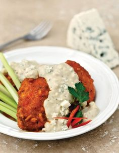 Low Carb Buffalo Baked Chicken with Gorgonzola Cream Sauce.... Recipe by George Stella.......Low Carbing Among Friends on Facebook