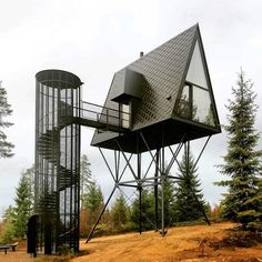 Ausguck im Muminwald - Baumhäuser von Espen Suvernik in Norwegen Tree houses by Espen Suvernik in Norway / lookout in the Moomin Forest - Architecture and Architects - News / Messages / News - BauNetz. Architecture Design, Amazing Architecture, Landscape Architecture, Building Architecture, Black Architecture, Landscape Pics, Architecture Portfolio, Zombie Proof House, A Frame House