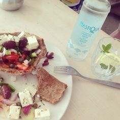 Traditional Greek salad and Mastiha sparkly water with lemon and pepermint!