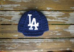 Newborn LA DODGERS baby cap,crochet baby cap, beanie LA hat photo prop shower gift by Etvy on Etsy