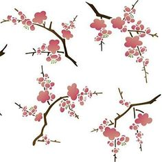 This classic Japanese flower stencils set features 5 different Cherry Blossom stencils that you can use in a free form manner to create a unique look on walls, furniture, and fabric. Wall Stencil Patterns, Stencil Designs, Cherry Blossom Flowers, Cherry Blossom Outline, Cherry Blossom Party, Cherry Blossom Japan, Damask Decor, Chinoiserie, Japanese Flowers