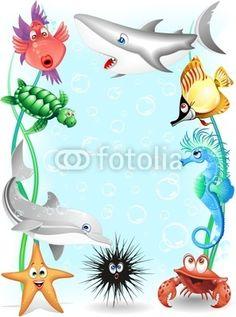 Sea Animals Background-Vector © bluedarkat