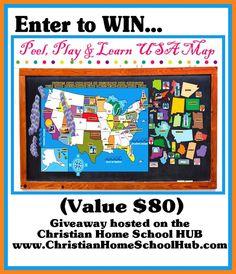 A Peel, Play & Learn USA Map by Mona MELisa Designs over at @Christian HOMESCHOOL Hub - Lynda Ackert (Christian Homeschool Hub.