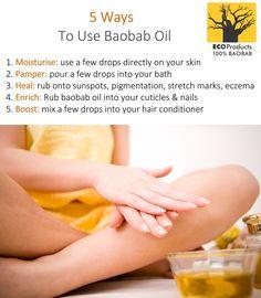 5 ways to use #baobab oil Baobab Powder, Baobab Oil, Baobab Tree, Oil For Dry Skin, Tree Seeds, Stretch Marks, Lotions, 5 Ways, Zen