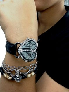 Womens dual time zone heart bezel fashion watch Save 70% off Retail Price