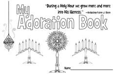 My Adoration Book- Free eight page printable book to help kids pray during a Holy Hour.  Includes prayers, songs, questions, Scripture, explanations, and places for journaling.