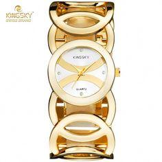 52daff5c707a Kingsky 3809  lujo mujeres del reloj famoso marcas de diseño de moda dorado  pulsera relojes
