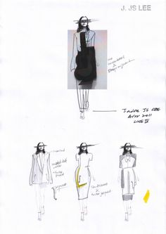 Fashion Sketchbook - fashion design sketches for a minimalist tailored collection; fashion portfolio // J JS Lee