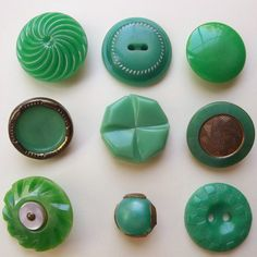 These buttons measure from to Green Button, Jade Green, Vintage Buttons, Fascinator, Antiques, Crafts, Etsy, Cabinets, Candy