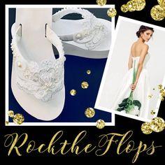 Bridal Flip Flops and Wedges by RocktheFlops Bride Flip Flops, Bridesmaid Flip Flops, Bridesmaid Sandals, Beach Wedding Sandals, Wedding Flip Flops, Wedge Wedding Shoes, Wedding Shoes Bride, Bridal Sandals, Bride Shoes