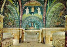 "1 of 8: The Mausoleum of Galla Placidia is a highly important Byzantine mausoleum in Ravenna, Italy. ""It is the earliest and best preserved of all mosaic monuments, and at the same time one of the most artistically perfect""."
