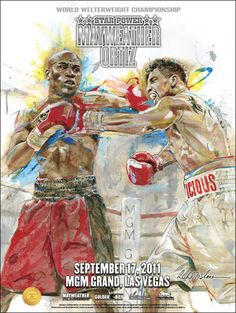 Floyd Mayweather vs Victor Ortiz On Site Fight poster by H.O.F. artist Richard T. Slone