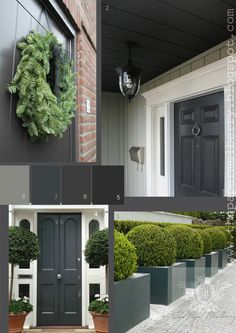 Chic dark graphite grey front doors against crisp white - full links and details:The Paper Mulberry: Exterior Paint Shades - Part 2 Exterior Paint Colors, Paint Colors For Home, House Colors, Exterior Design, Interior And Exterior, Paint Colours, Exterior Shades, Grey Exterior, Black Front Doors