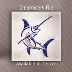 jumping marlin fish machine embroidery design file only a few dollars for multiple sizes