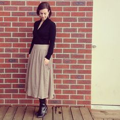 Me Made May - Day in (delicious) black NZ merino. in a taupe wannabe linen. by onesmallstitchclasses Gathered Skirt, Kendall, Taupe, Normcore, Sew, Instagram Posts, Skirts, Inspiration, Black