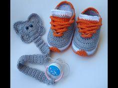 (VERSÃO CANHOTO) PRENDEDOR DE CHUPETA ELEFANTE ❤️🐘❤️ - YouTube Booties Crochet, Crochet Converse, Crochet Sandals, Crochet For Boys, Crochet Baby Booties, Learn To Crochet, Crochet Crafts, Crochet Projects, Crochet Stitches