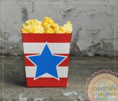 Free Printable popcorn or treat box   Peonies and Poppyseeds