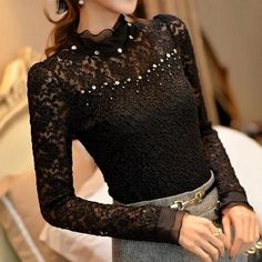 fae34fb449d 2015 New Ruffled Collar Long Sleeve Blouses Shirts with Beaded Plus Size  Lace Women Blouse Women Clothing Blusas Femininas 59A0