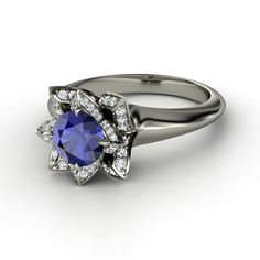 One of the prettiest engagement rings I've ever seen. Round Blue Sapphire 14K White Gold Ring with Diamond & Diamond  | Lotus Ring | Gemvara