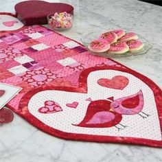 Lovey Dovies: Fast Fusible Hearts & Birds Table Runner Quilt Pattern Designed and Machine Quilted by KATHYRYN PATTERSON, patterned in McCall's Quick Quilts February/March 2014