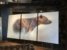 Running Wild is a contemporary western wildlife triptych piece) painting of a colorful grizzly bear running through the snow by artist Teshia. 3 Piece Painting, Painting Gallery, Art Gallery, Original Artwork, Original Paintings, Triptych, Park City, Main Street, Wildlife