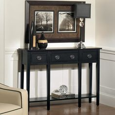 contemporary black painted finish hall console table