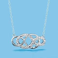 """New! Sterling silver 1"""" L double-infinity pendant embellished with 11 CZs on a sterling silver chain.  Necklace: 19"""" L with spring ring closure. Pendant: 1"""" across and 1/2"""" top to bottom. Regularly $39.99, buy Avon Jewelry products online  at http://eseagren.avonrepresentative.com"""