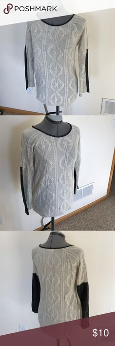 Monteau sweater with faux leather arm patches Monteau Los Angelos sweater. Cream with faux black leather/suede-like patches on the arms. In excellent condition. Monteau Sweaters Crew & Scoop Necks
