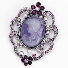 Pugster Classic Antique Lady Maiden Profile February Birthstone Purple Beauty Cameo Floral Amethyst Purple Swarovski Crystal Diamond Accent Brooches And Pins Pugster. $12.39. One free elegant cushioned Gift box available with every order from Pugster.. Money-back Satisfaction Guarantee.. Exquisitely detailed designer style with Swarovski cystal element.. Occasion: casual wear,anniversary, bridal, cocktail party, wedding. Can be pinned on your gown or fastened i...