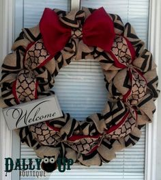 Burlap Wreath  Red Black and Natural Chevron  by DallyUpBoutique