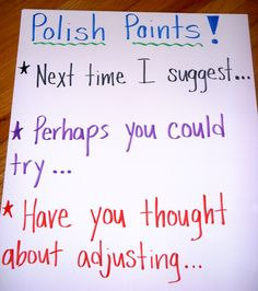 """As per the CCSM students need to offer and receive feedback from their teachers and peers. The polish points serve the purpose. Also used during the """"share"""" in workshop time. I use this time to provide meaningful feedback and offers the ability to confer with two students during the share portion. Classroom Behavior, Classroom Management, Classroom Posters, Classroom Decor, Formative Assessment Strategies, Writing Strategies, Math Workshop, Writer Workshop, Teacher Blogs"""