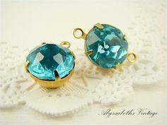 Vintage Rhinestones Aquamarine Faceted Glass by alyssabethsvintage, $3.25