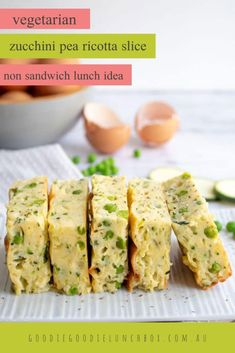 This delicious vegetarian Zucchini Pea and Ricotta Slice is a fantastic lunchbox addition or quick and easy weeknight dinner. Bursting with veggies and so creamy. Vegetarian Appetizers, Vegetarian Recipes Easy, Veggie Recipes, Lunch Recipes, Veggie Meals, Easy Oven Baked Chicken, Baked Chicken Tacos, No Dairy Recipes, Paleo Recipes