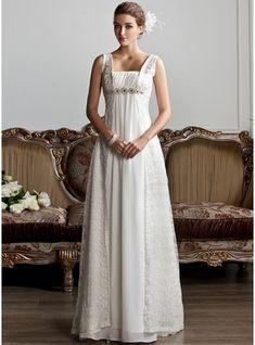 A-Linie/Princess-Linie Rechteckiger Ausschnitt Sweep/Pinsel zug Chiffon Spitze Brautkleid mit Rüschen Perlen verziert
