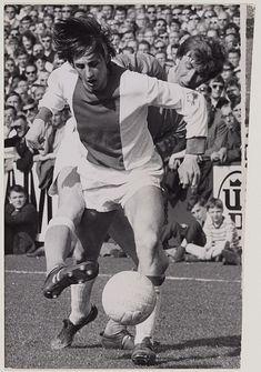 Cruyff in action for Ajax against Telstar in 1969 Amsterdam City Centre, Afc Ajax, Kingdom Of The Netherlands, Durham Region, Best Club, Vintage Football, Team Player, Royal Navy, Football Players
