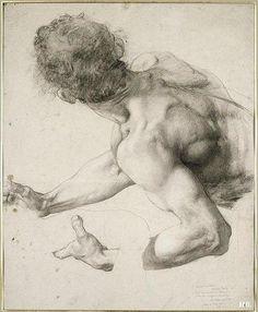 Paul Baudry ~ Study for the Le Supplice d'une Vestale, 1828-86 (chalk)
