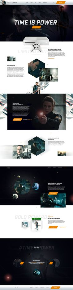 Quantum Break Ui design concept for a web landing page. By Myles Kedrolwski