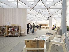 The World Design Capital Helsinki 2012 Pavilion by Aalto University Wood Studio students - Dezeen University Architecture, Wood Architecture, Architecture Details, Helsinki, Skylight Design, Interior Ceiling Design, Wooden Canopy, Architectural Photographers, Roof Structure