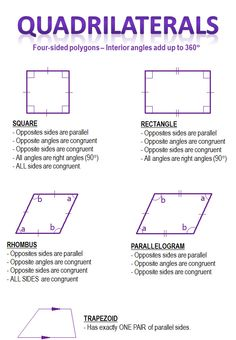 quadrilaterals summary- basics for with angles Geometry Help, Teaching Geometry, Geometry Activities, Teaching Math, Maths, Common Core Algebra, Math Classroom, Classroom Ideas, Homeschool Math