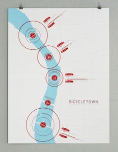 Bicycletown/Bridgetown infographic. Portland, Oregon. Design by Pasteinplace.com