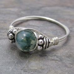 Moss Agate Bali Sterling Silver Wire Wrapped Beaded by KimsJewels, $14.00