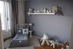 Understated Nordic style girl's room in grey and white. Kids Bedroom, Decor, Interior And Exterior, Bed, Home Decor Decals, Furniture, Interior, Home Decor, Toddler Bed