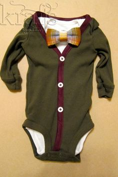 Baby Boy Outfit - Olive/Burgundy Cardigan & Onesie with Removable Bow Tie