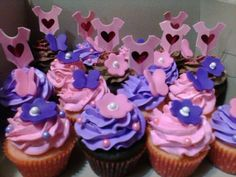 Pink  Purple Baby Shower cupcakes - Rubio's Cupcakes