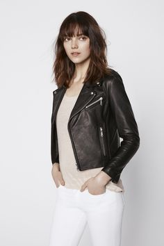 Nana Moto Jacket - Crafted from buttery-soft leather, this wardrobe staple is complete with our signature hardware and asymmetrical zippers.Style #: H2641715