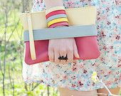 """Pink clutch """"CarryMe"""", beige and purple pink, vegan leather purse"""
